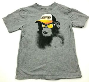 Awesome Monkey Shirt Youth Size Medium 7 - 8 Gray Yellow Short Sleeve Tee Kids