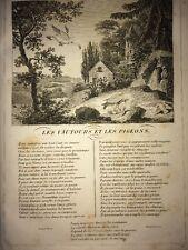 LA FONTAINE. LES VAUTOURS ET LES PIGEONS. FABLE ET GRAVURE 1834