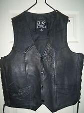 A-1 Genuine Leather Black Biker / Harley Davidson / Motor Cycle Vest Size 46