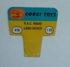 No. 416, RAC Radio Land-Rover, 1960's US Corgi Toys Shop Display Price Ticket