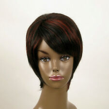 perruque femme afro 100% cheveux naturel courte méchée noir/rouge KITTY 02/1b410