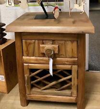 Rustic Unique Teak Root Lamp Table Cupboard & Drawer Unit Bedside Cabinet