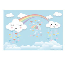 7x5ft Rainbow Smile Clouds Photo Backgrounds Cartoon Baby Photography Backdrop