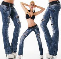 Women's Hipster Jeans Bootcut Low Cut  Blue Ripped Jeans Pants + Belt 6-14