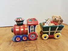 Vintage Pfaltzgraff Christmas Train Salt & Pepper set Bears Candy Canes