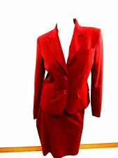 RICHARD CARRIERE STUDIO WOMENS RED POLYESTER BLEND SKIRT SUIT SIZE 40 FR / 10 US
