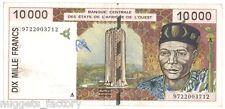 10000 Francs CFA Cote d Ivoire 1997 SUP ++ ( 152  )