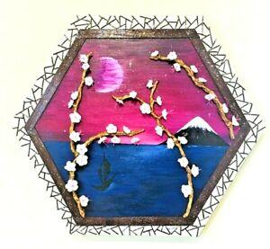 "Original 3D Wall Art: ""Sakura Window""Acrylic painting with Clay, Wire & Wood Art"