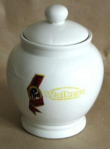 "Walkers Candy Jar covered Dish w Plaid Logo 7.75"" Porcelain Canada FREE SH"
