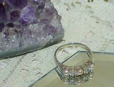 Antique Sterling Silver Ring Band Pearl Diamonique Band Stackable 5mm Size 7.25