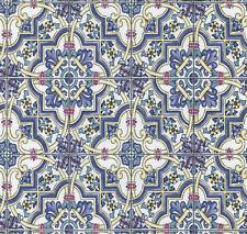 Mosaic Tile Wallpaper Retro Blue Yellow Multi Textured Washable Vinyl  P+S