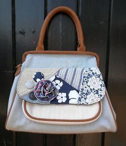 Casa Di Borse Cute New Vintage Style Denim Folk Mori Patchwork Floral Handbag
