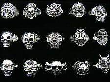 10pcs Wholesale Jewelry Lots Mixed Style Skull Silver Plated Rings Free Shipping