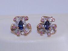 GENUINE! 0.46tcw! Iolite & Pink Sapphire Flower Earrings Sterling Silver 925!