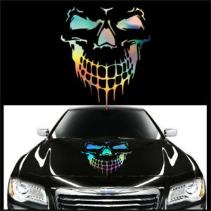 1Pcs Car Hood Side Door Body Decal Laser Skull Styling Vinyl Stickers 50x56cm