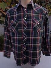 WRANGLER XL Western Flannel Pearl Snap Shirt Green Red White Christmas Colors