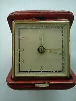 Vintage Florn Red Leather Case German Wind-up Travel Alarm Clock *WORKING WELL*