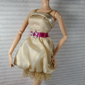 COCKTAIL W~ DRESS ~TLC DISNEY HANNAH MONTANA GOLD PINK STAR BELTED DOLL CLOTHING