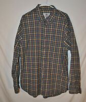 The Territory Ahead Long Sleeve Button Down Blue Yellow Brown Plaid Cotton EUC