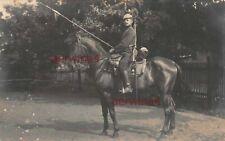 Ulanen-Regiment Nr.18 Leipzig Ulan zur Pferd mit Lanze Orig. Foto 1. WK