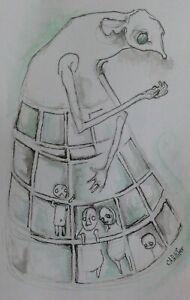 Elephant Shrew Painting Original Drawing Watercolour, pen FANTASY