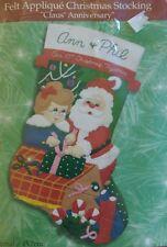 Bucilla Christmas Claus' Anniversary 84345 Felt Applique 18 Inch Stocking Kit