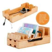 Charging Station Levin Eco Friendly Bamboo Charger Rack Docking Tablets Phones