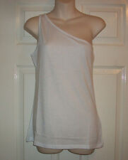 LADIES / WOMANS / GIRLS LOVELY NEW LOOK WHITE ONE SHOULDER VEST TOP SIZE 12 BNWT