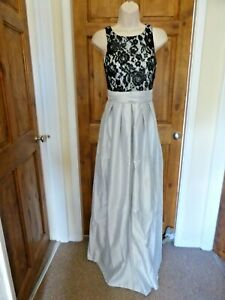 Pretty silver and black satin lace detail evening dress from Babyonline size 10