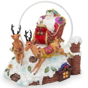 Santa Delivers Christmas Gifts Musical Water Snow Globe