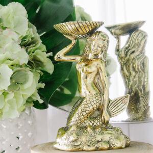 Brass Mermaid Sitting Sculpture w Trinket Dish Shell Hampton Coastal Home Decor