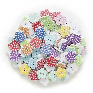 50pcs Dot Flower Wood Buttons for Sewing Scrapbooking Cloth Home Crafts Decor