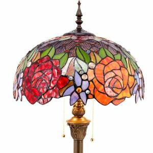 Tiffany Style Floor Standing Lamp 64 Inch Tall Stained Glass Red Rose Design ...
