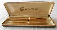 Vintage Sheaffer Statesman Fountain Pen Pencil set in Case Gold 14K Nib