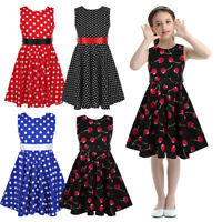Kids Baby Girls Polka Dots Summer Birthday Party Sleeveless Swing Casual Dress