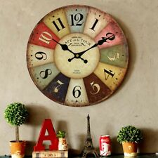 Retro Round Wooden Wall Clock Roman Number Vintage Home Office Wall Decoration