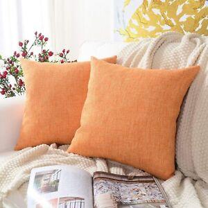 MERNETTE Pack of 2, Cotton Linen Blend Decorative Square Throw Pillow Cover Cush