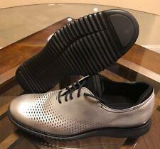 $300 Cole Haan 2.ZeroGrand Laser Wingtip Oxford Metallic Silver C25575 Size 10