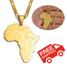 Africa Continent Map African Country Pendant Necklace Chain Gold Afro Women Men