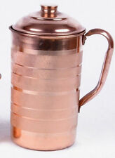 100% Pure 1 Ltr Copper Water Jug Pitcher New Copper Indian Ayurveda Product UK02