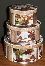 Set 3 Cake Tins Biscuit Storage Tin Cinnamon Star Brown Stackable New