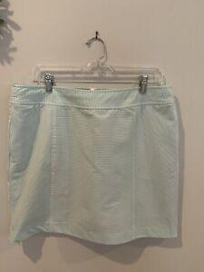 Fairway & Greene Womens 10 Seersucker Skirt skort Green White EEUC