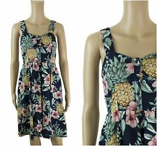 ex Fat Face Tropical Floral Print Strappy Button Pockets Holiday Summer Dress
