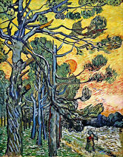 Vincent Van Gogh Pine Trees canvas print giclee 16X12 reproduction poster
