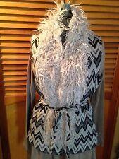 Cirana Chevron Women's Vest Black Gray Faux Fur size Large NWT