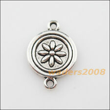 8 New Charms Tibetan Silver Round Flower Pendants DIY Connectors 15.5x23mm