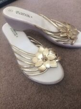 Gold Wedge Sandals Size 7