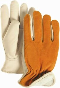 Tough-Strong Cowhide Leather +Suede Back Winter Pile Lined Insulated Work Gloves