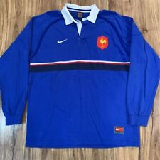 France National Rugby Union Nike Team Mens Rugby Shirt Blue Stripe Cotton XL