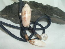 Bolo Tie In Gift Box Vintage Sea Shell Braided Navy Silk